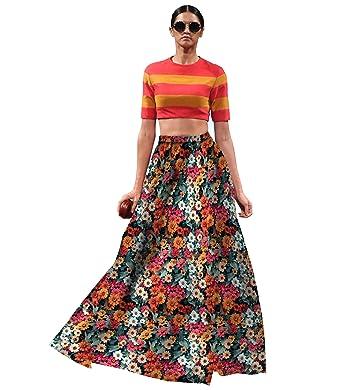 8d27f168b2 Yana fab Women's Full Flower Printed Zari Satin Semi-Stitched Lehenga with  Dupatta (1278, Multicolour, Free Size): Amazon.in: Clothing & Accessories