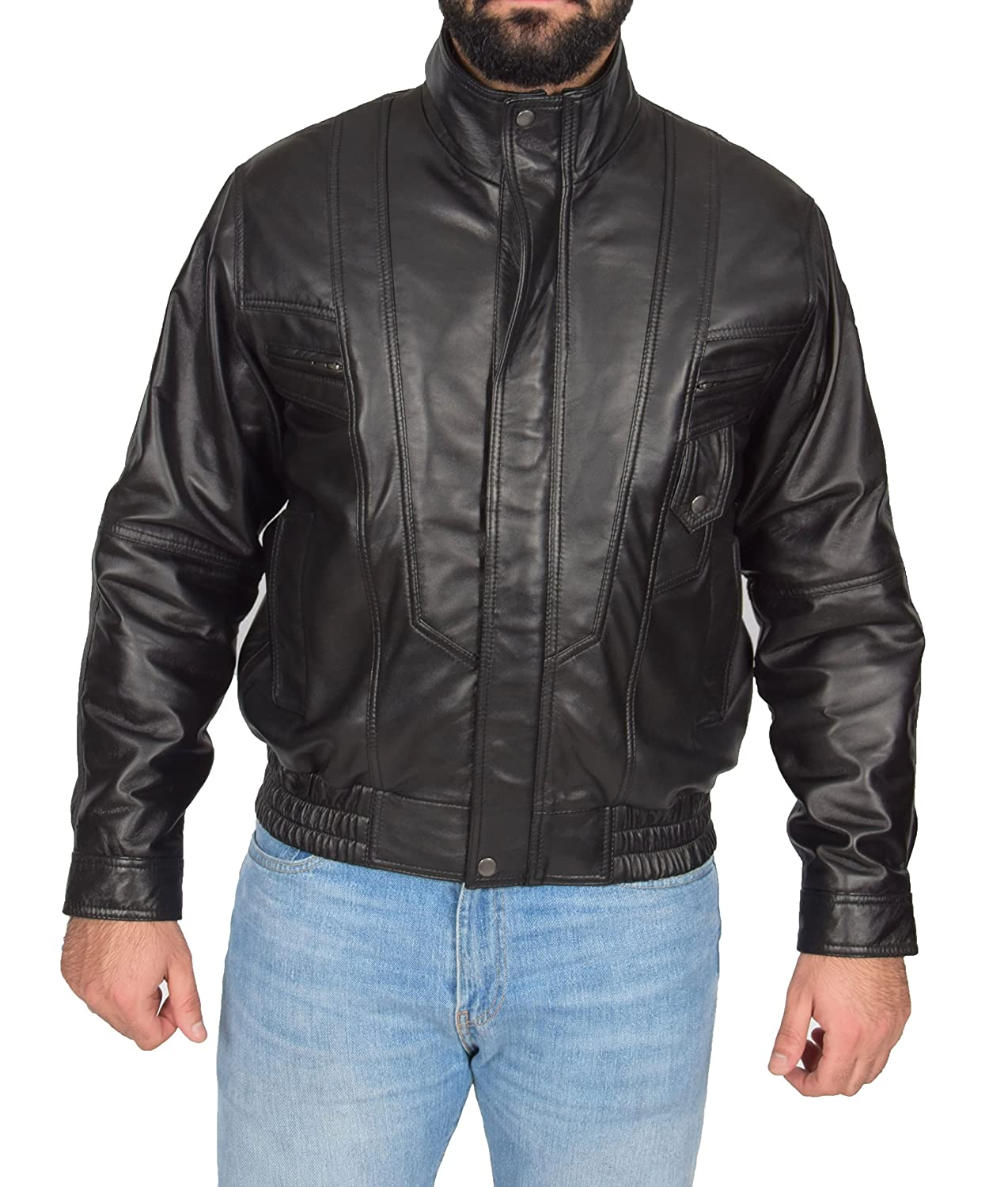 eb3508531 Mens Soft Leather Bomber Jacket Classic Fit Casual Blouson Style Robert  Black