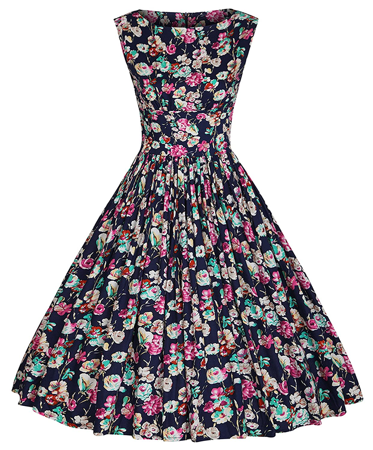 VEZEL Women's Retro Vintage Floral Spring Party Picnic Swing Sleeveless Dress