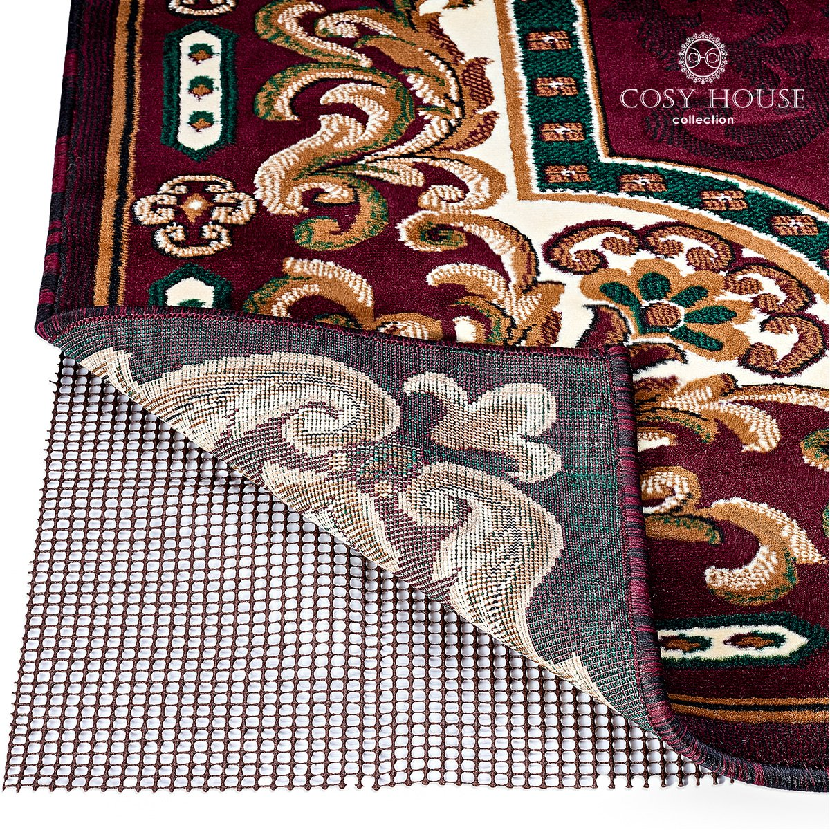 Non Slip Area Rug Pad - Fully Washable, Thick Rug Gripper for Firm Hold on Oriental, Traditional or Contemporary Rugs & Door Mats for any Hard Surface Floors - Wood, Tile or Cement (5' x 7')