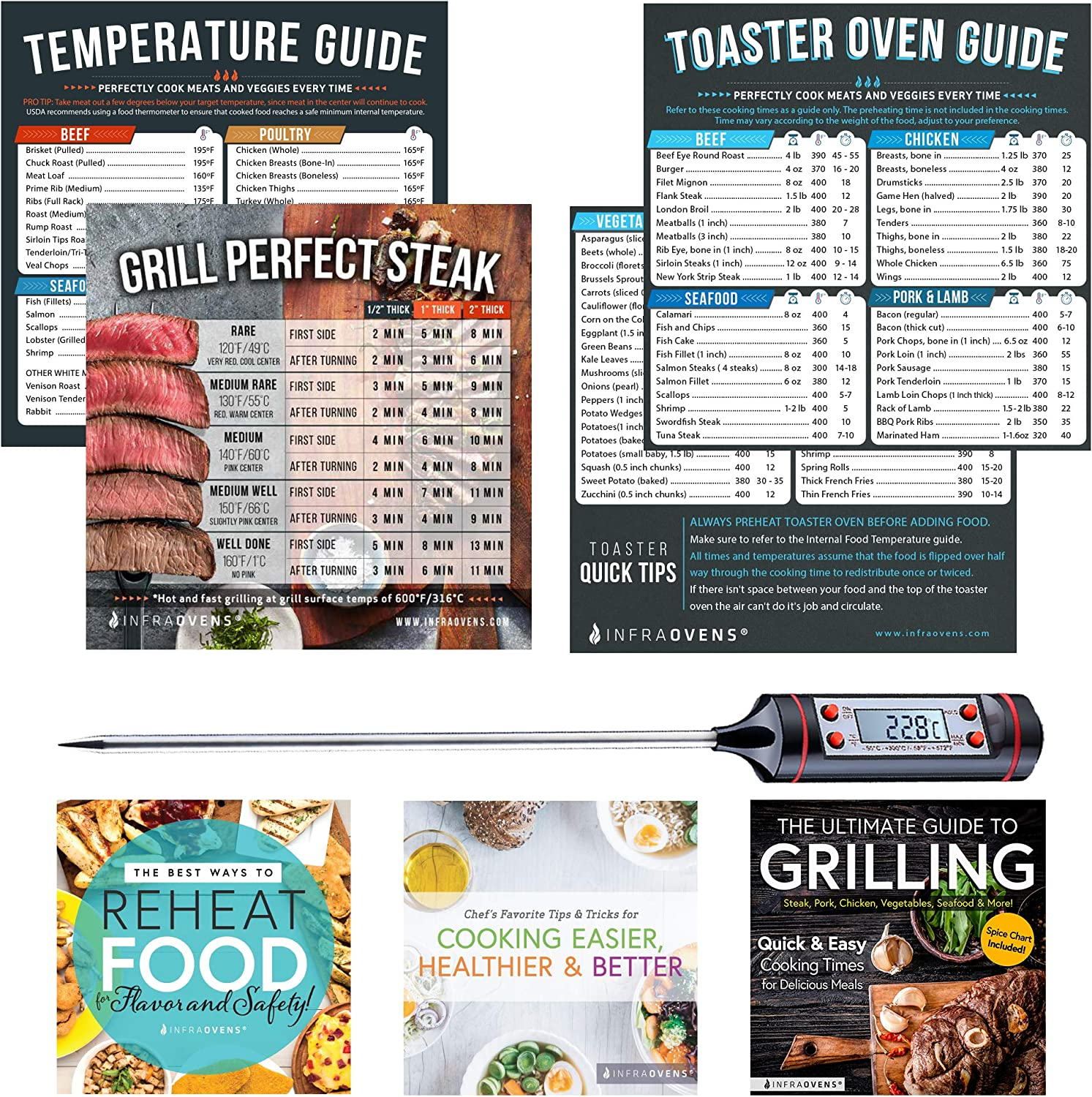Toaster Ovens Countertop Magnetic Cheat Sheet Accessories Compatible with Cuisinart Air Fryer Toaster Oven, Breville, Emeril Air Fryer 360 Oven XL – Baking Accessories with Meat Thermometer