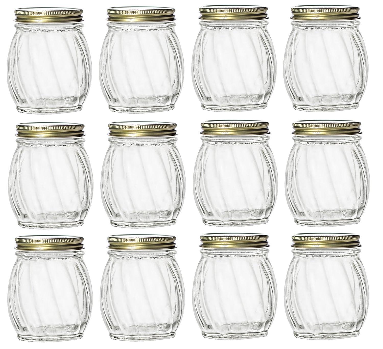 Nakpunar 12 pcs 5 oz Twirl Round Glass Jars with Gold Lids - Canning, Preserving, Spherical (5 oz, Gold)