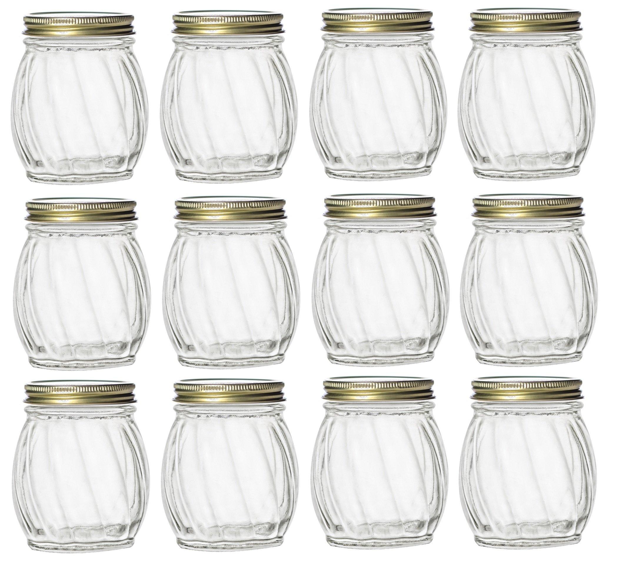 9e06ca687d0b Nakpunar 12 pcs 5 oz Twirl Round Glass Jars with Gold Lids - Canning ...