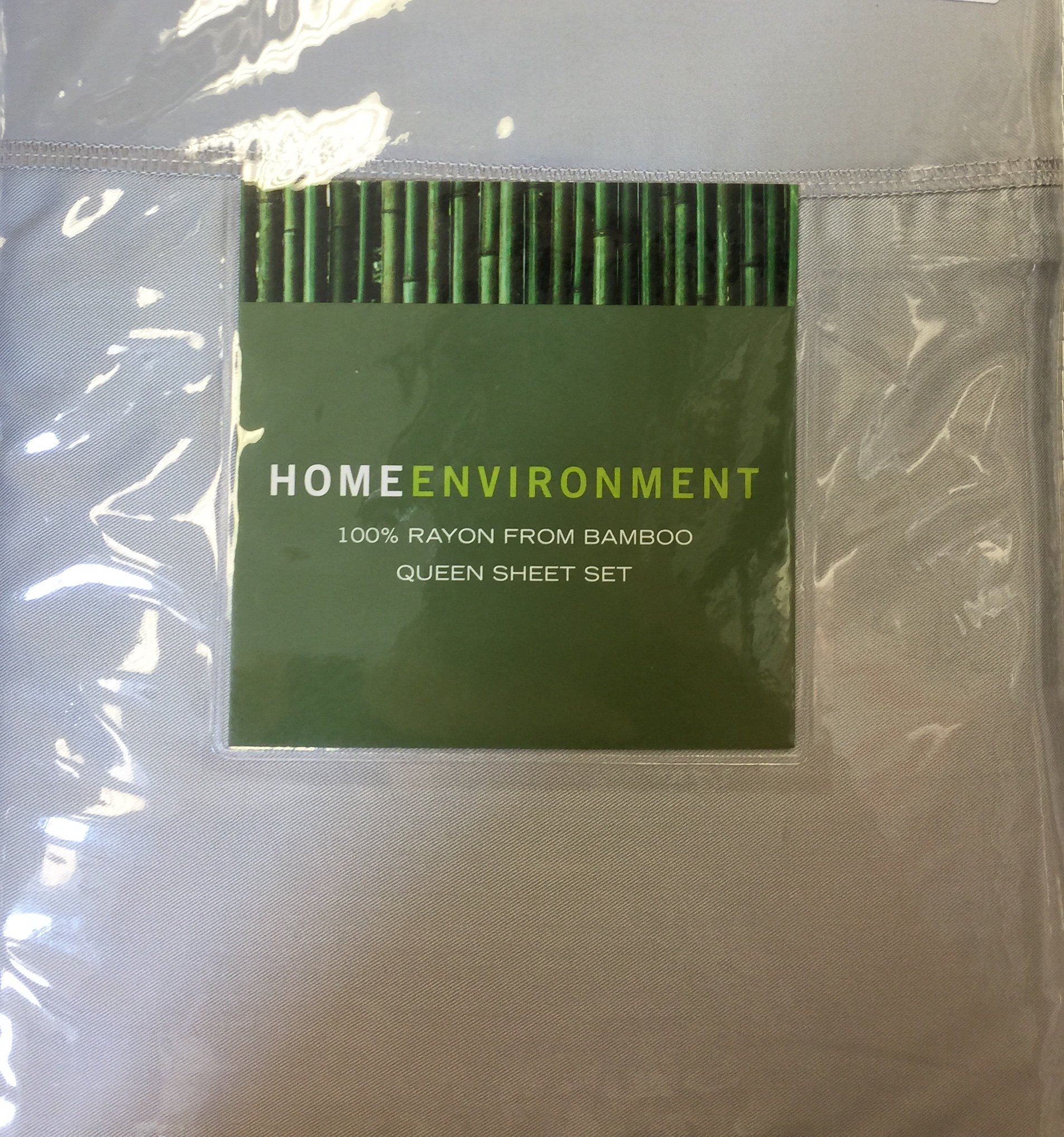 Home Environment Queen Sheet Set, Grey, Rayon from Bamboo, Antibacterial … by Home Environment