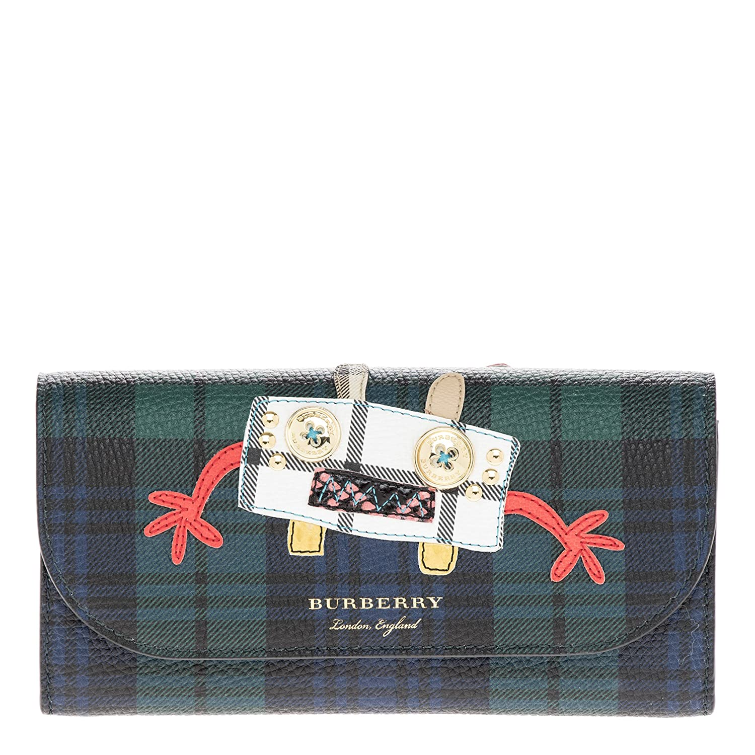 4bbcdbf23f1ac Burberry Women s Creature Applique Tartan Leather Wallet with Chain Green