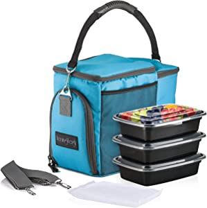 HemingWeigh Reusable Insulated Lunch Box for Men with Containers, Meal Prep Lunch Bag for Women, Cooler Storage with Compartments, Turquoise