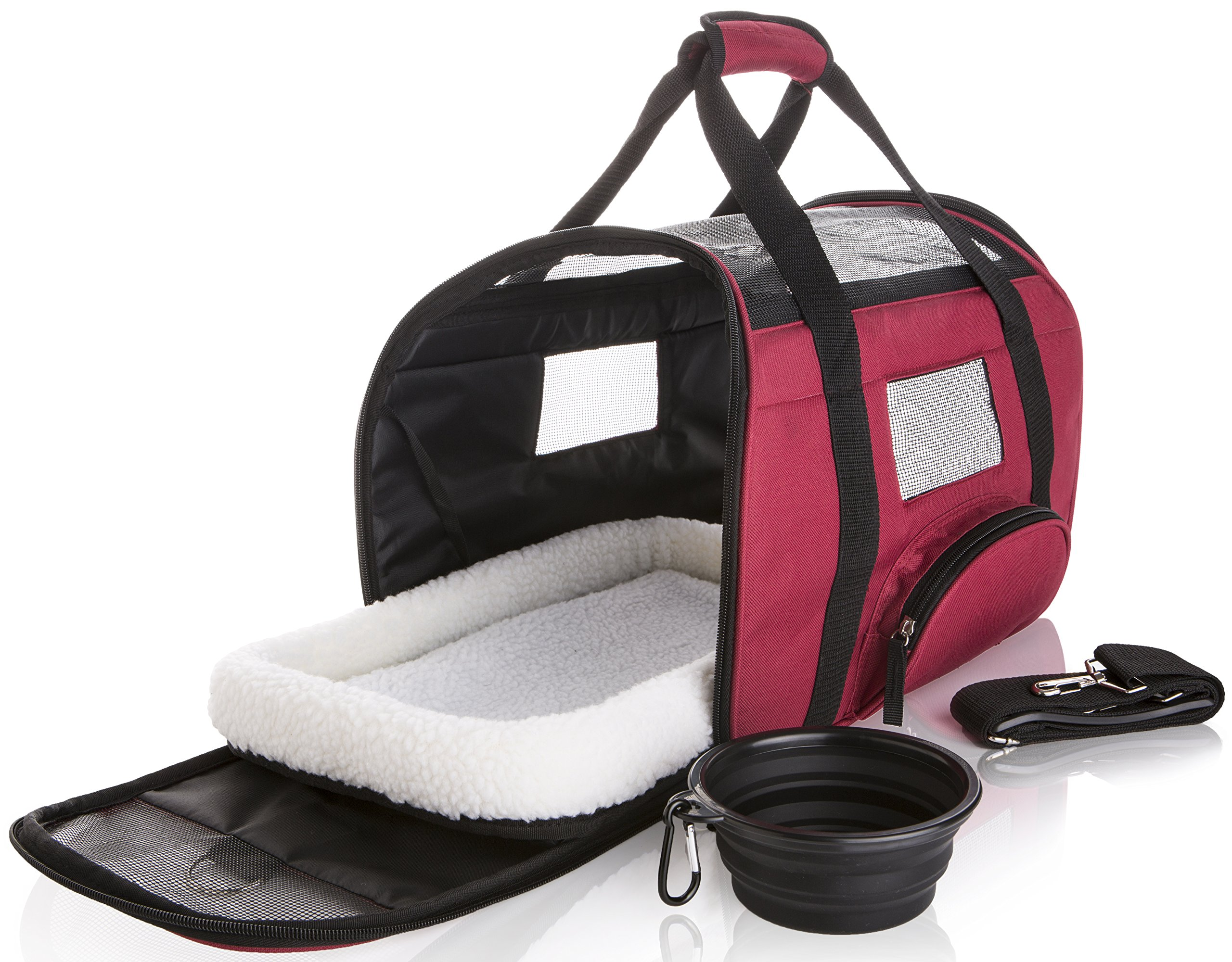SunShack Soft Sided Travel Pet Carrier - Onboard Airline Approved Under Seat Bag Cats Dogs | Cushioned Fleece Pad | Collapsible Food/Water Bowl Included | Bicycle Compatible | Small, Maroon