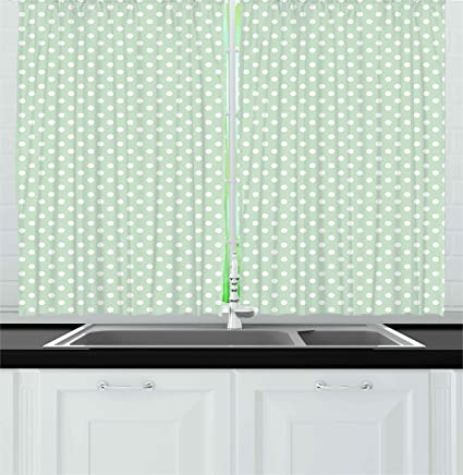 Superbe Ambesonne Mint Kitchen Curtains, Retro Polka Dots Motif With Little Circle  Round Shapes Elegance Vintage