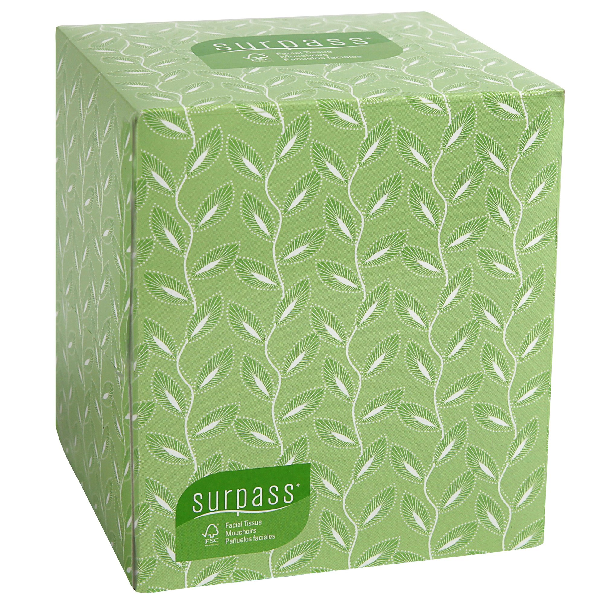 Surpass Boutique Facial Tissue Cube (21320), 2-Ply, White, Unscented, 110 Face Tissue/Box, 36 Boxes/Case