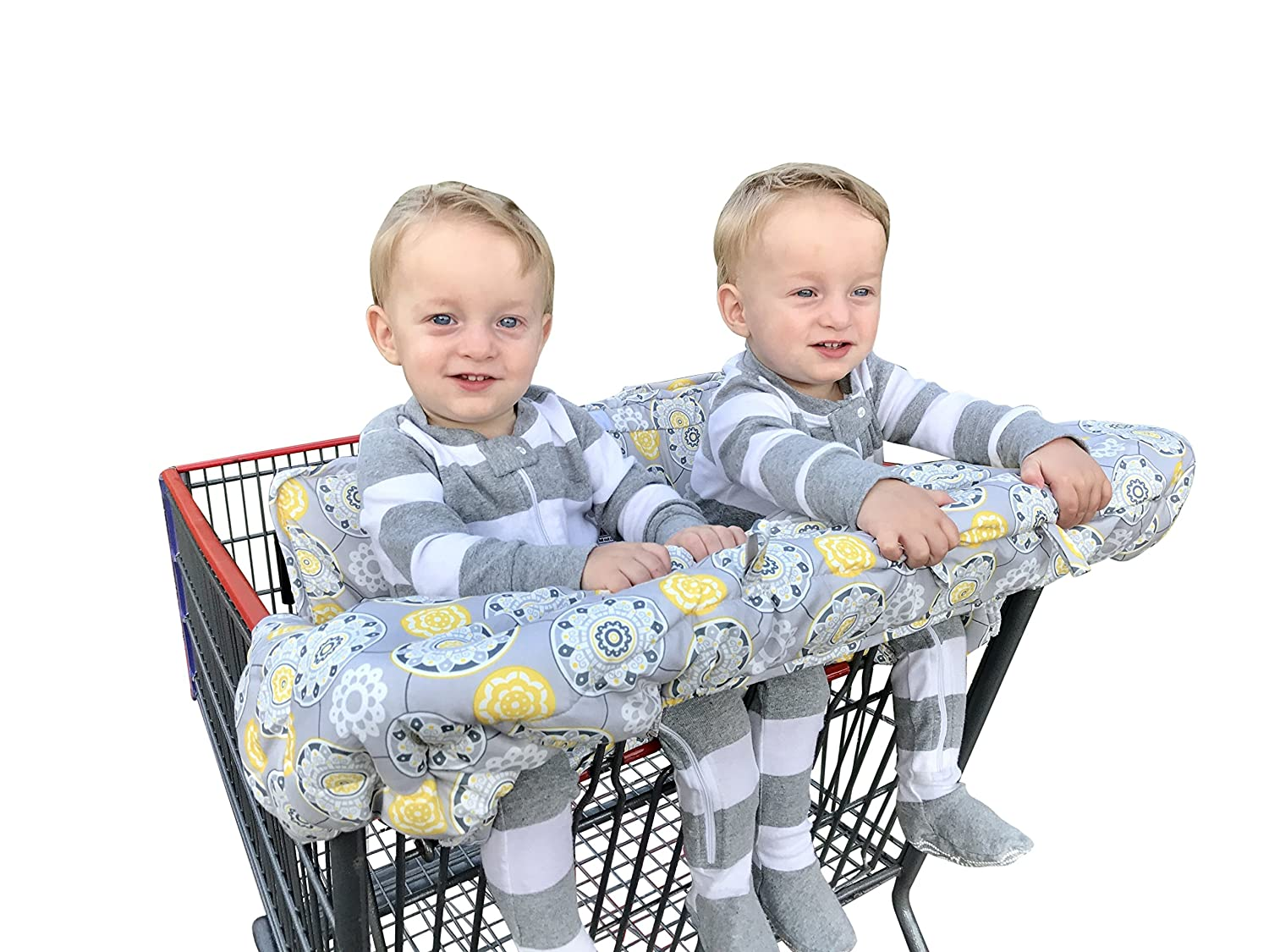 Twin Double Shopping Cart Cover for Baby Siblings with Carrying Case. Guaranteed to Fit Wholesale Warehouse Grocery Stores Like Costco SAMS Club (Gray Medallion)