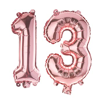 Ella Celebration 13 Number Balloons For 13th Birthday Party 40 Inch Large Mylar Helium Foil