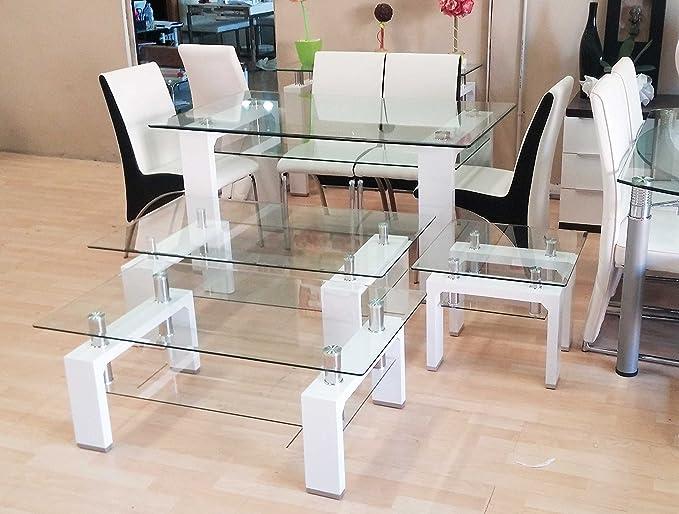 BUDMOSUR Mesa de salón Comedor en Cristal Templado 150cm