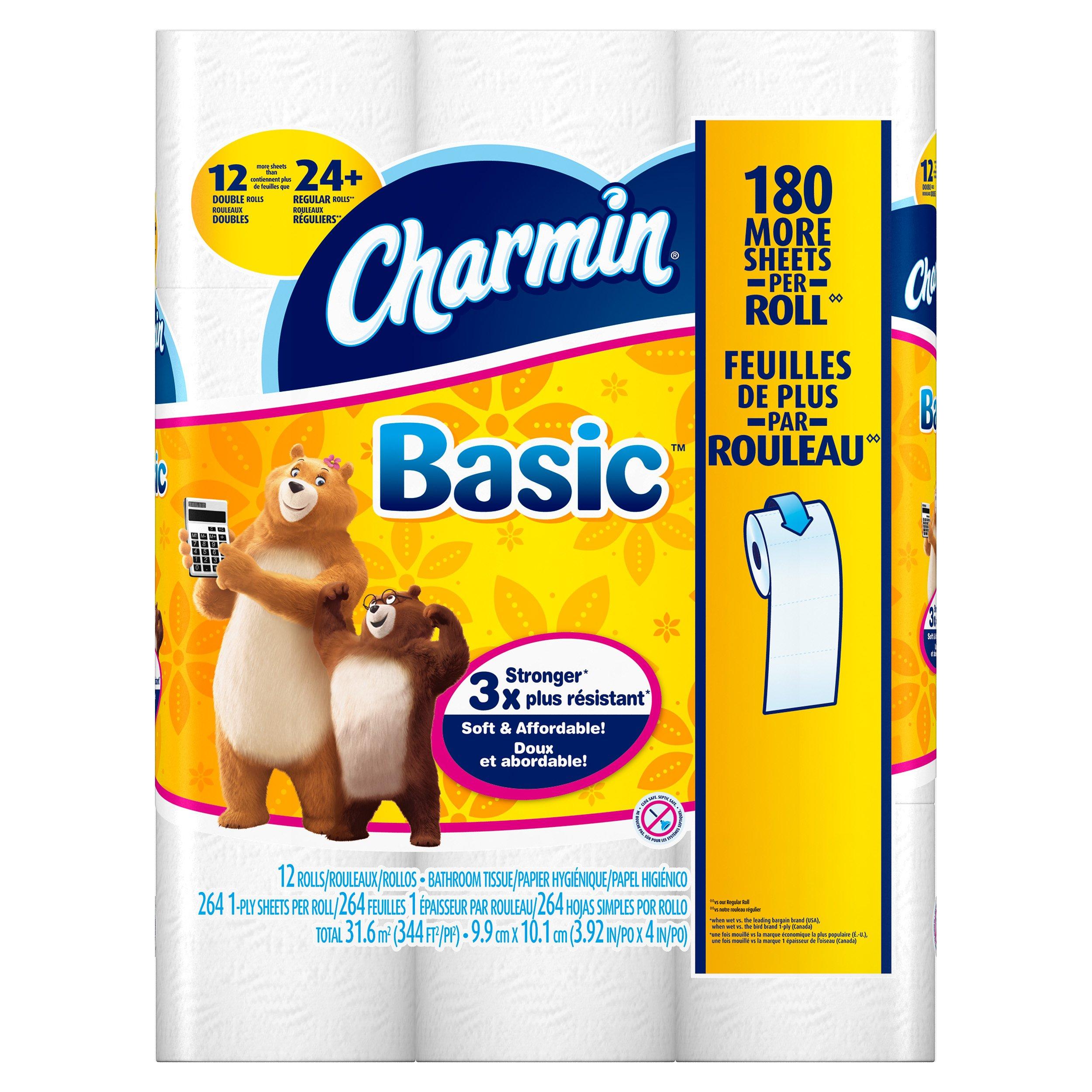 Charmin Toilet Paper, Basic Bath Tissue, Double Roll Toilet Paper, 48 Count
