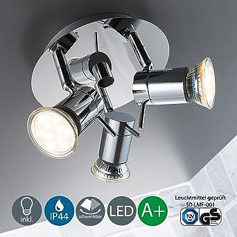 LED Baddeckenleuchte Schwenkbar Inkl. 3 X 3W Leuchtmittel 230V GU10 IP44  Badezimmer Geeignet LED Deckenlampe