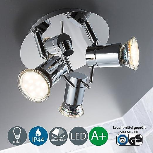 7 opinioni per Lampada da soffitto a LED per bagno, orientabile, include 3 x lampadine GU10