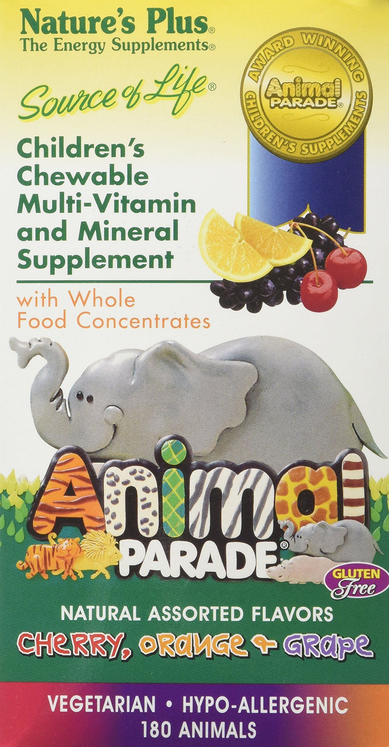 Nature's Plus - Animal Parade Children's Chewable Multi Assorted Flavors, 180 Count