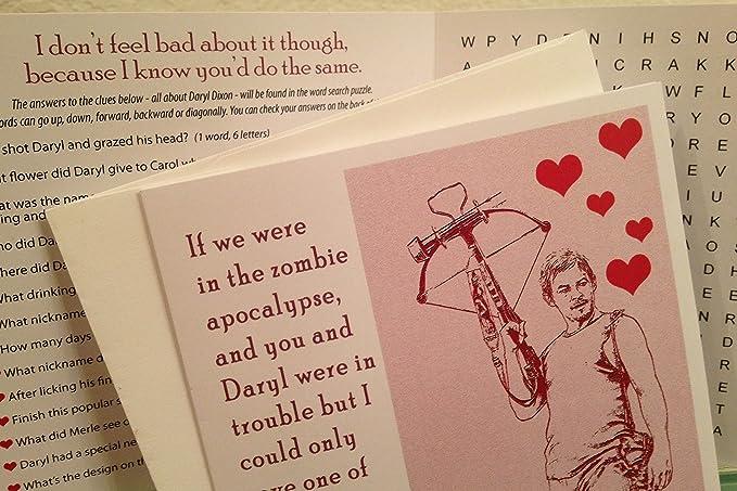 Amazon Daryl Dixon Greeting Card Wword Search The Walking
