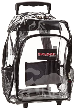 Amazon.com | Trailmaker Big Boys' Clear Rolling Backpack, Black ...