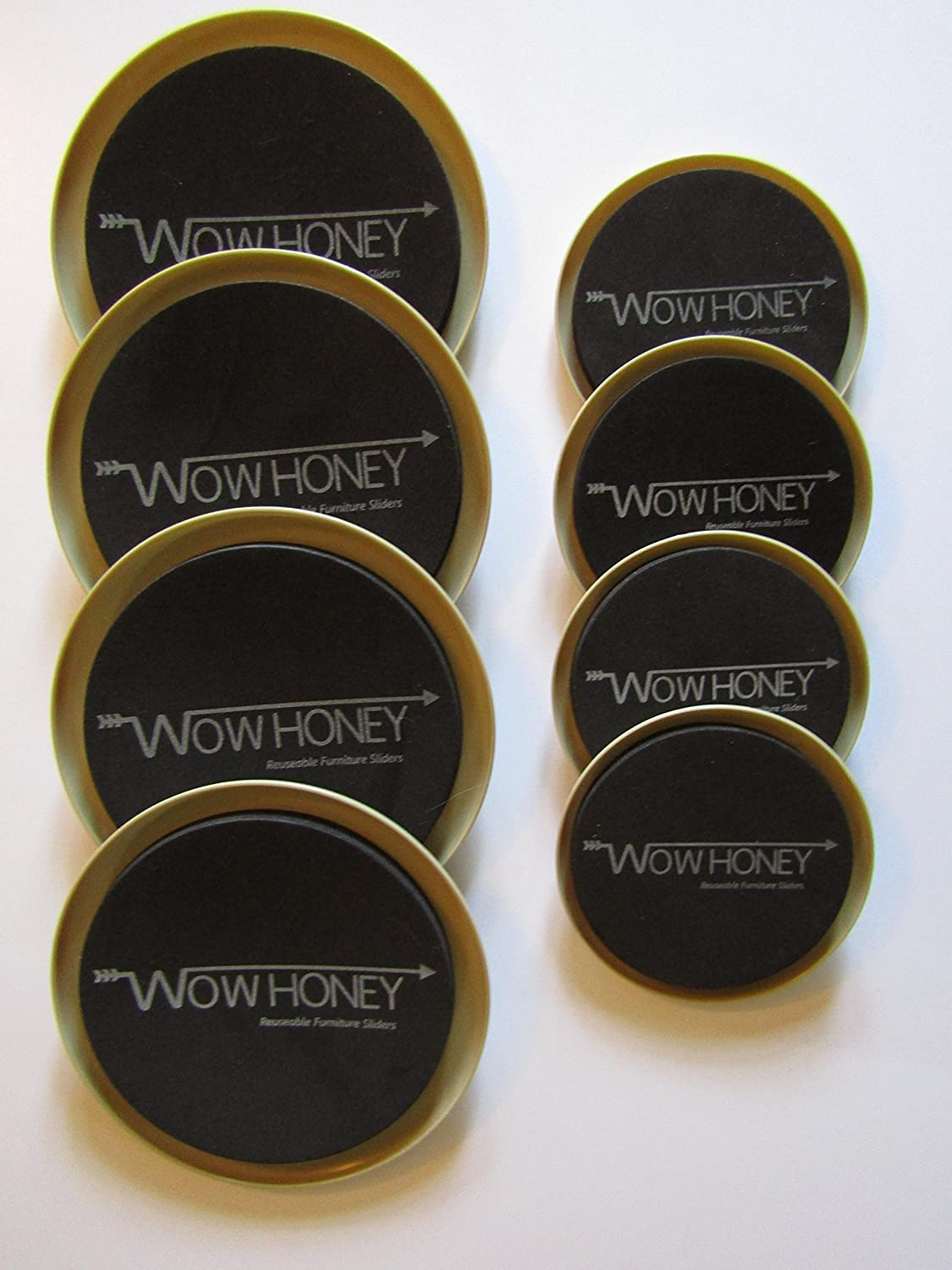 Furnitures Sliders Large Round for Carpet,Patio 8 Pack. Wow Honey Moving Furniture With Ease,on Most Surfaces