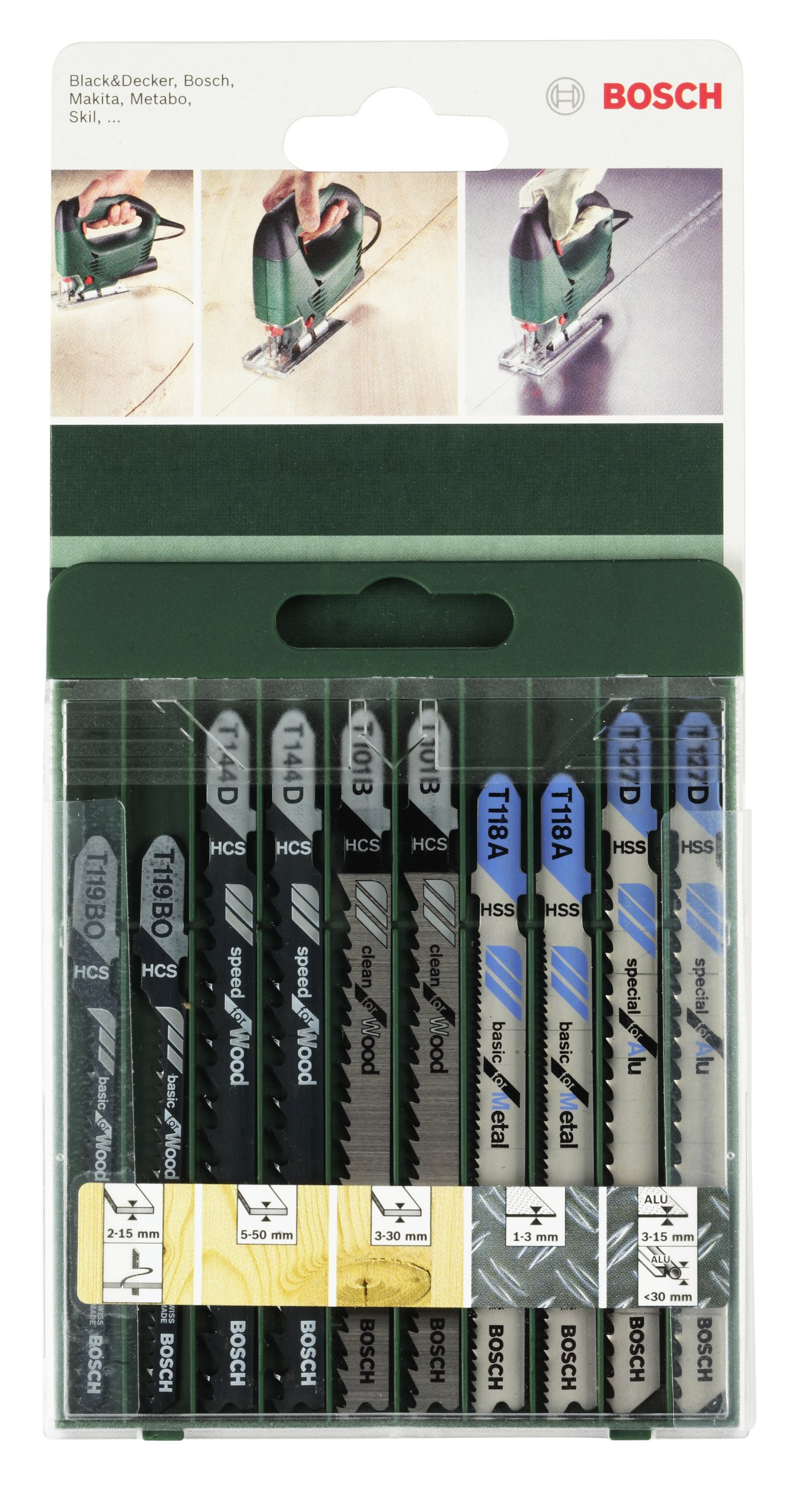Bosch 2 609 256 746 - Juego de hojas de sierra de calar de 10 piezas