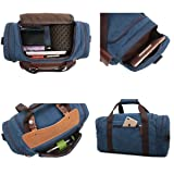 CrossLandy Canvas Gym Bag for Men Women Leather Overnight Bag Travel Carry  on Duffel Sports Weekend Tote Bags 9ecf3dd276296