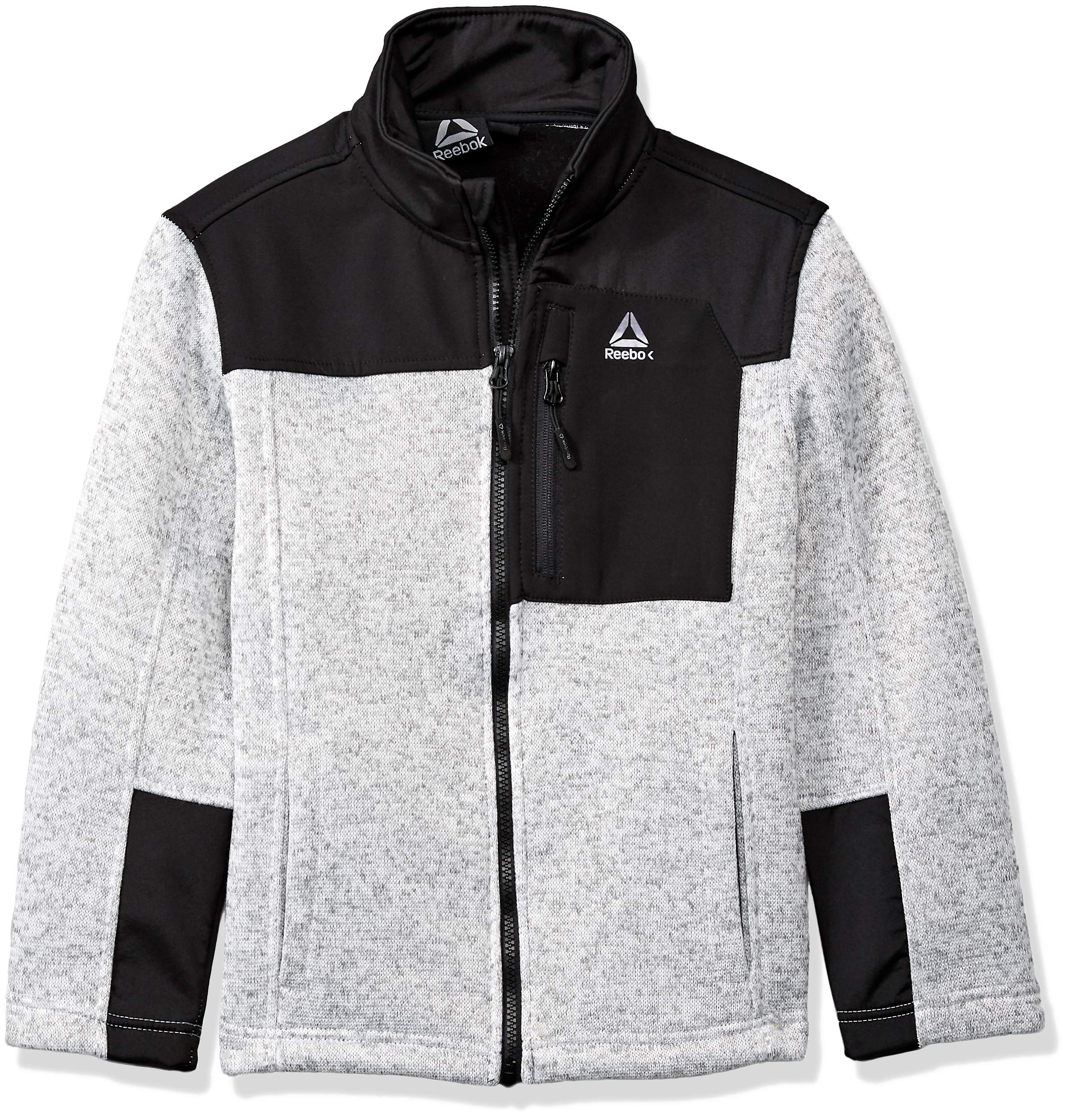 Reebok Boys' Big Active Sweater Fleece Jacket, Heather Grey 14/16
