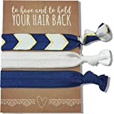 Jeune Marie 12 Pack Blue Ribbon Hair Ties KIT No Crease Elastics Handtied Ouchless Ponytail Holders Hair Band Bracelet Favors for Bachelorette Parties, Bridal Showers, and More! (12 Pack, Blue)