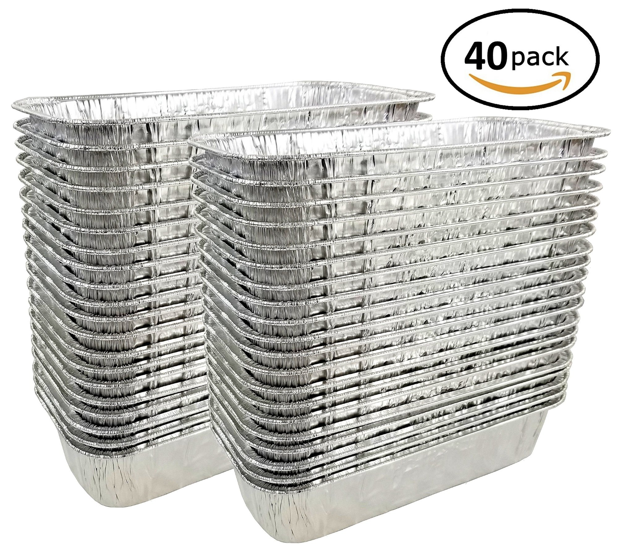Pactogo 3 lb. Disposable Aluminum Foil Loaf Bread Baking Pan 10.75'' x 4.5'' x 2.31'' - Heavy Duty Made in USA (Pack of 40)