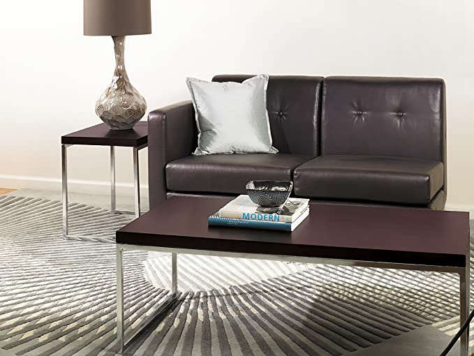 Amazon AVE SIX Wall Street End Table Chrome And Espresso Kitchen Dining