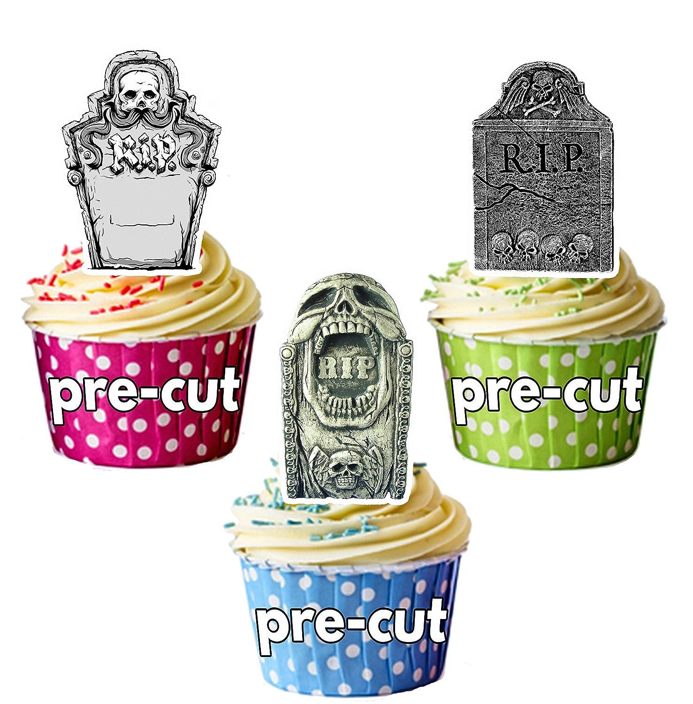 Precortado Halloween Tombstone tumba decoraci/ón comestible cupcake//decoraci/ón para tarta, Pack de 24
