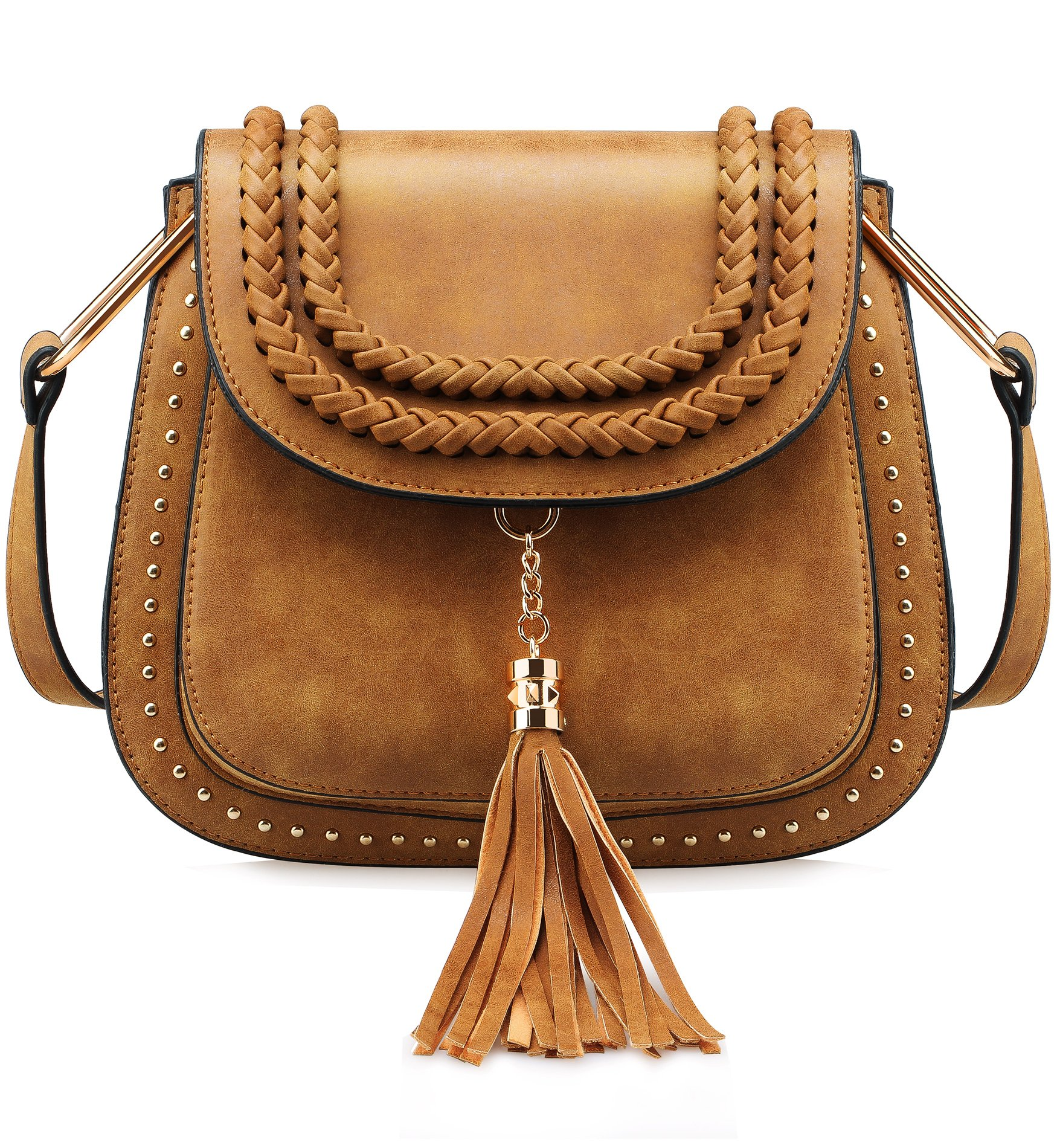 Tom Clovers Womens Vintage Tassel Saddle Shoulder Bag Crossbody Bag Sling Bag Shopping Travel Satchel Brown
