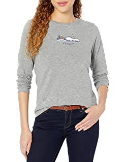 Simply Life is good Women/'s Crusher longsleeve Happy Trails Winter Boot T-Shirt