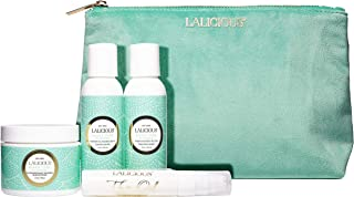 product image for LALICIOUS Sugar Tiare Travel Set - Whipped Sugar Scrub, Shower Gel/Bubble Bath, Body Butter & Body Oil in a Luxe Velour Makeup Bag (4 Piece Kit)