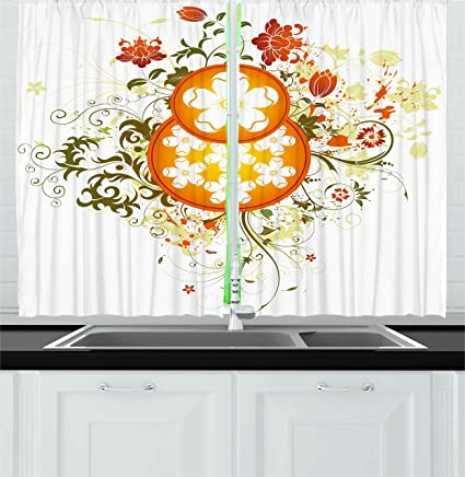 Ambesonne Floral Kitchen Curtains, Swirled Flowers Background With Circular  Figures Elegance Nature Design, Window