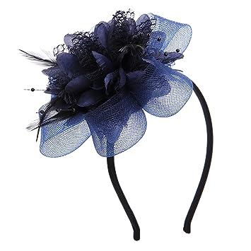 4df8b028ecd76 VGLOOK Flower Feather Fascinator Headband Wedding Headwear For Ladies Day  Race Royal Ascot (Navy): Amazon.co.uk: Beauty