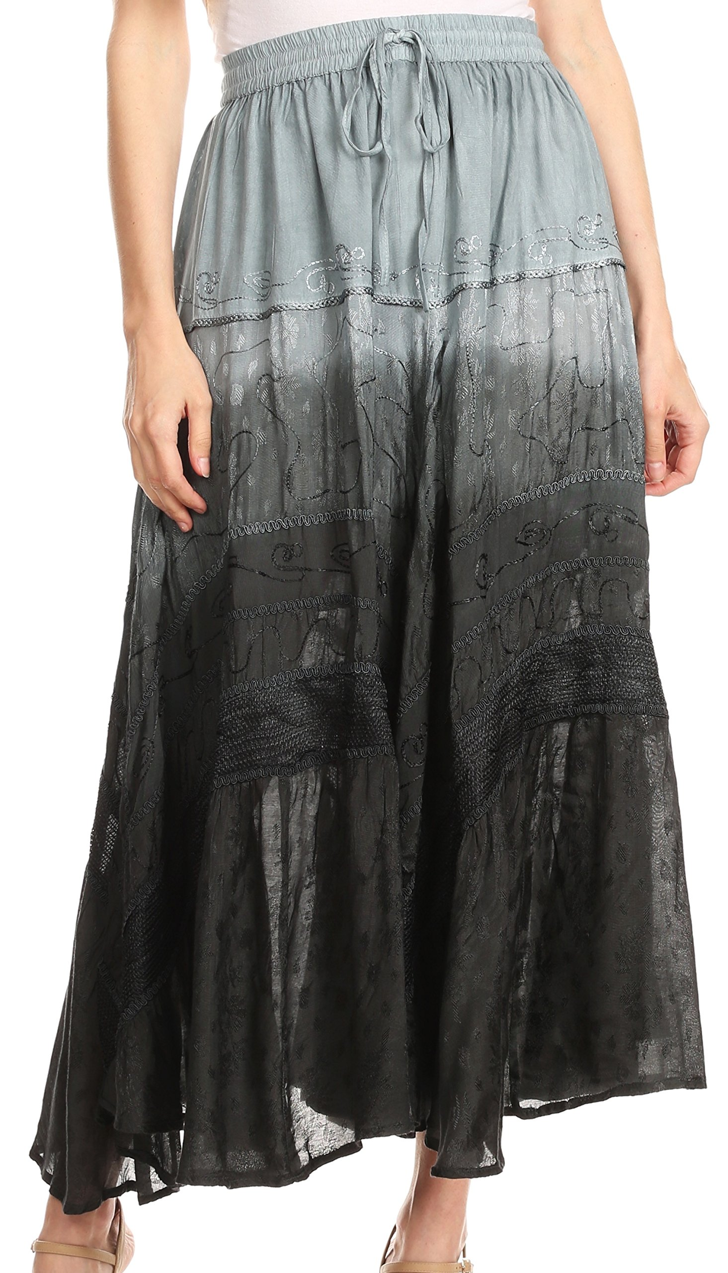 Sakkas 31009 - Alber Adjustable Waist Boho Skirt with Detailed Embroidery with Ruffle Trim - Ombre Black - OS
