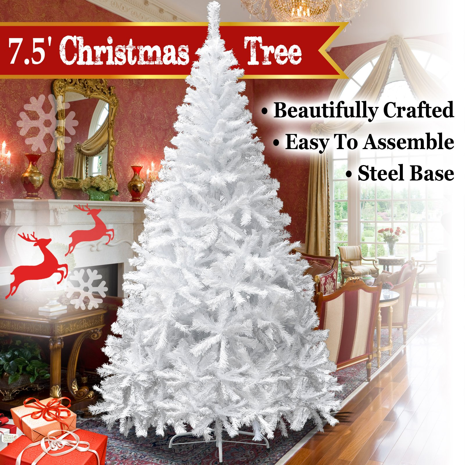 BenefitUSA Classic Pine Artificial Christmas Tree with Metal Stand, 7.5' White