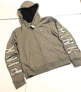 Pink Victoria Secret Zip up Hood Grey Sparkly Sweatshirt
