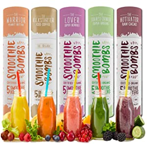 The Original Smoothie Bombs, Smoothie Mix Boosters with Over 10 Certified Organic Superfoods, Gluten-Free and Vegan-Friendly, 5 Bombs Per Tube (The Transformer - Super Greens)