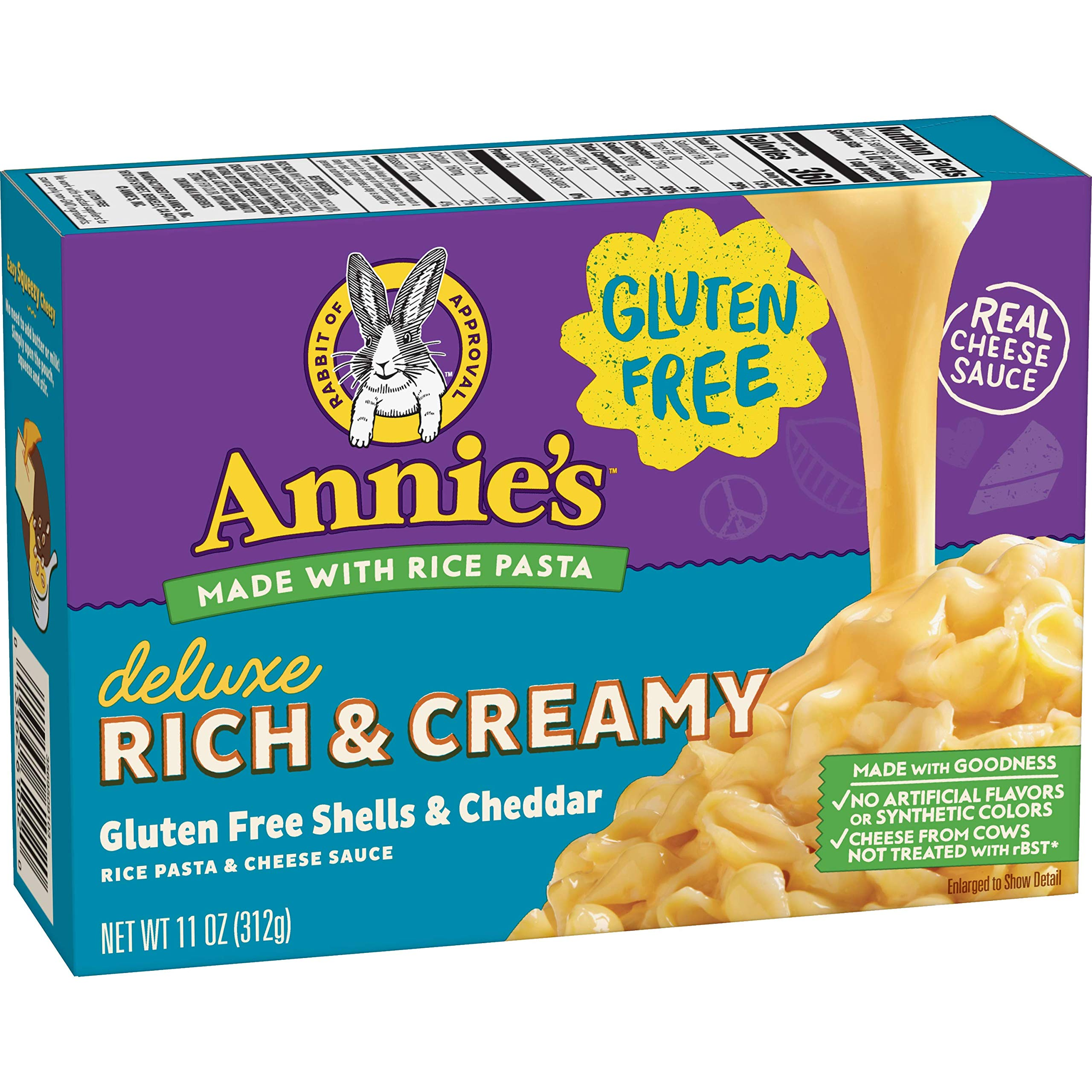 Annie's Gluten Free Macaroni and Cheese, Rice Pasta & Extra Cheesy Cheddar Sauce Mac and Cheese, 11 oz Box (Pack of 6) by Annie's Homegrown