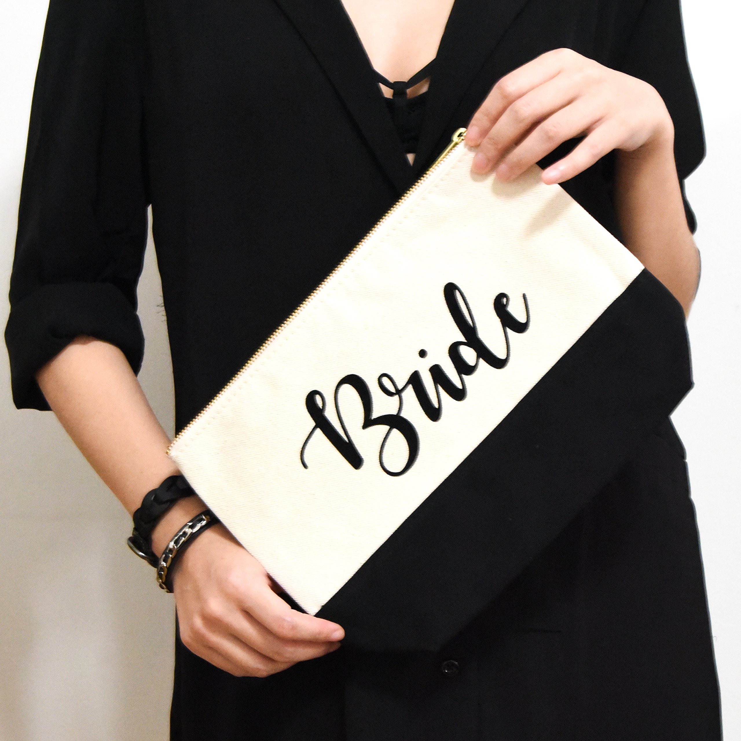 PumPumpz Personalized Gifts Wedding ''Bride'' Large Canvas Travel YKK Zipper Makeup Bag.''Which arrive you within 5 days'' (Bride Black) by PumPumpz (Image #5)