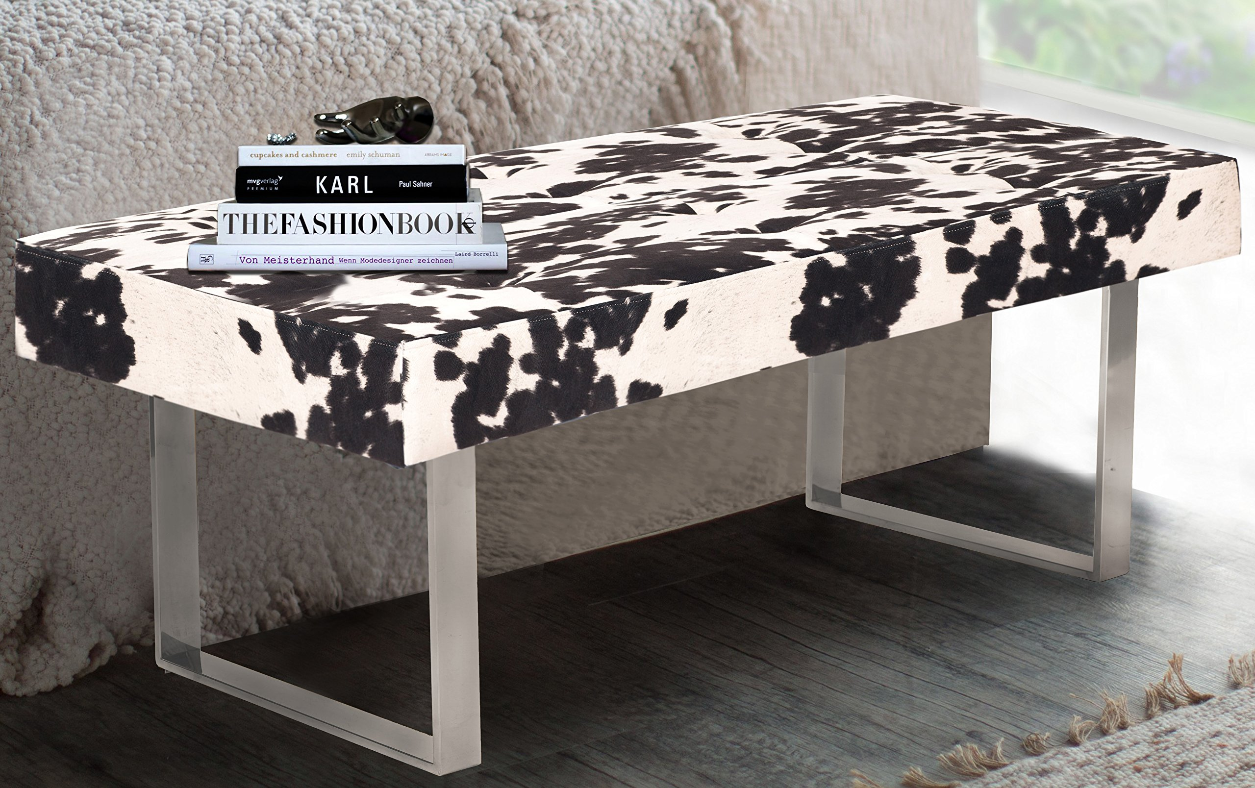Iconic Home Wayne Faux Cow Fur Modern Contemporary Tufted Seating Square Leg Bench, Udder Madness black