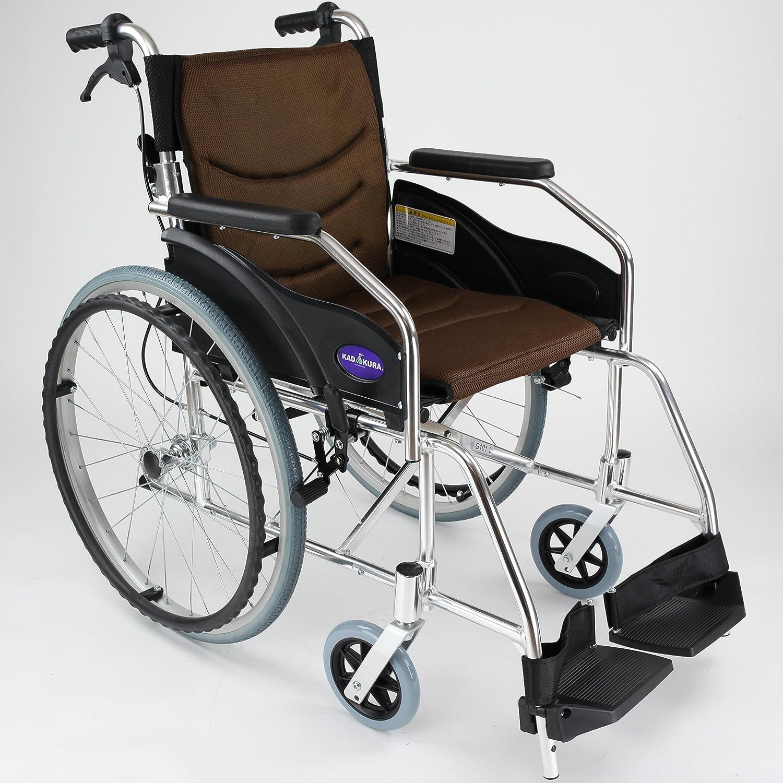 自走用車椅子 チャップススリム ラバンバ ブラウン 軽量 折りたたみ式 ノーパンクタイヤ G101-BRN (ブラウン) カドクラ B0725JX66Z  ブラウン