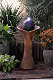 ASC Solar Powered Rattan Pillar and Bowls Water Feature with LED Light