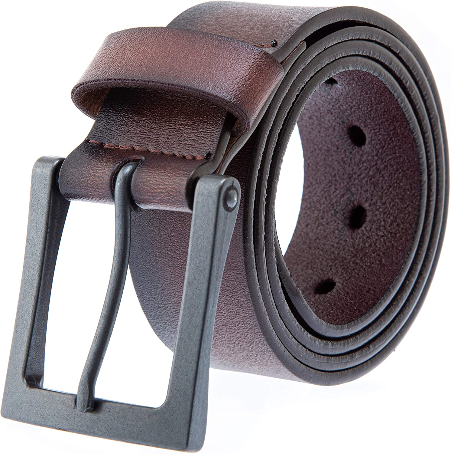 Cristopher Handmade Full Grain Strong Black Genuine Leather Belt Roller Buckle