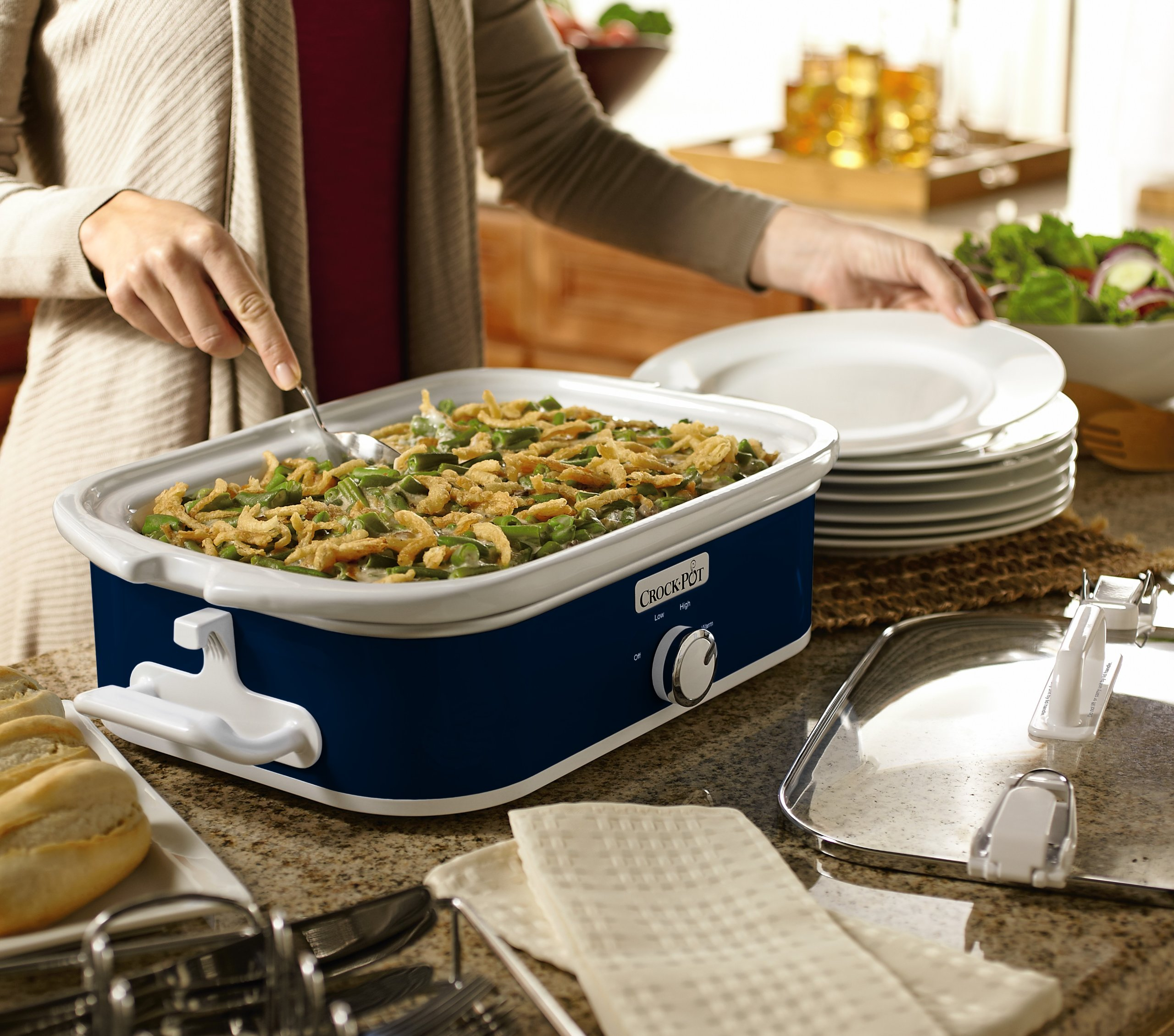 Crock-Pot SCCPCCM350-BL 3.5-Quart Casserole Crock Manual Slow Cooker, Navy Blue