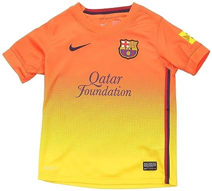Nike F.C. Barcelona - Camiseta de fútbol infantil, 2ª equipación, 2012-13, color azul/rojo, talla L: Amazon.es: Deportes y aire libre