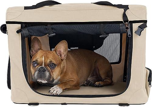 Better World Pets Durable Den Soft Travel Dog Crate Waterproof 1,600 Denier Oxford Nylon Shell Super Strong Mesh Rollup Windows Bonus Waterproof Pet Bed