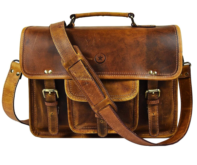 c4aff78a8f73 15 inch Vintage Leather Messenger Satchel Bag | Briefcase Laptop Messenger  Bag by Aaron Leather (Caramel Brown)