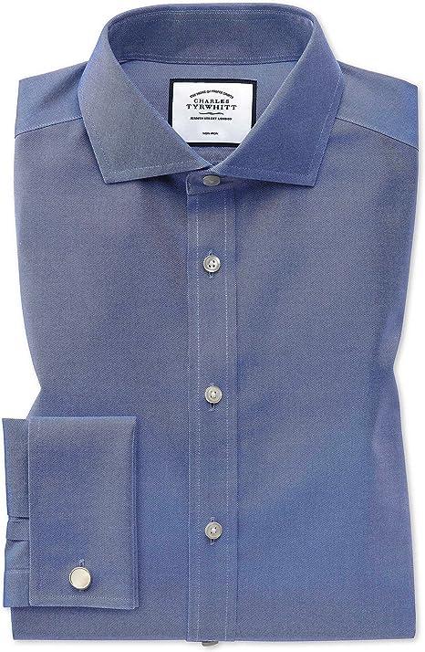 Camisa Azul intermedio de Sarga Extra Slim fit con Cuello Italiano: Amazon.es: Ropa y accesorios